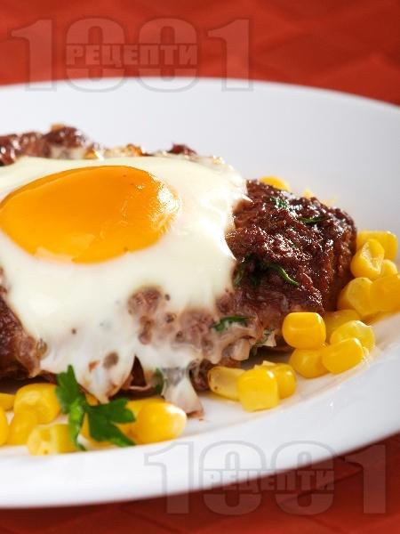 Гнезда от кайма с яйце печени на фурна - снимка на рецептата